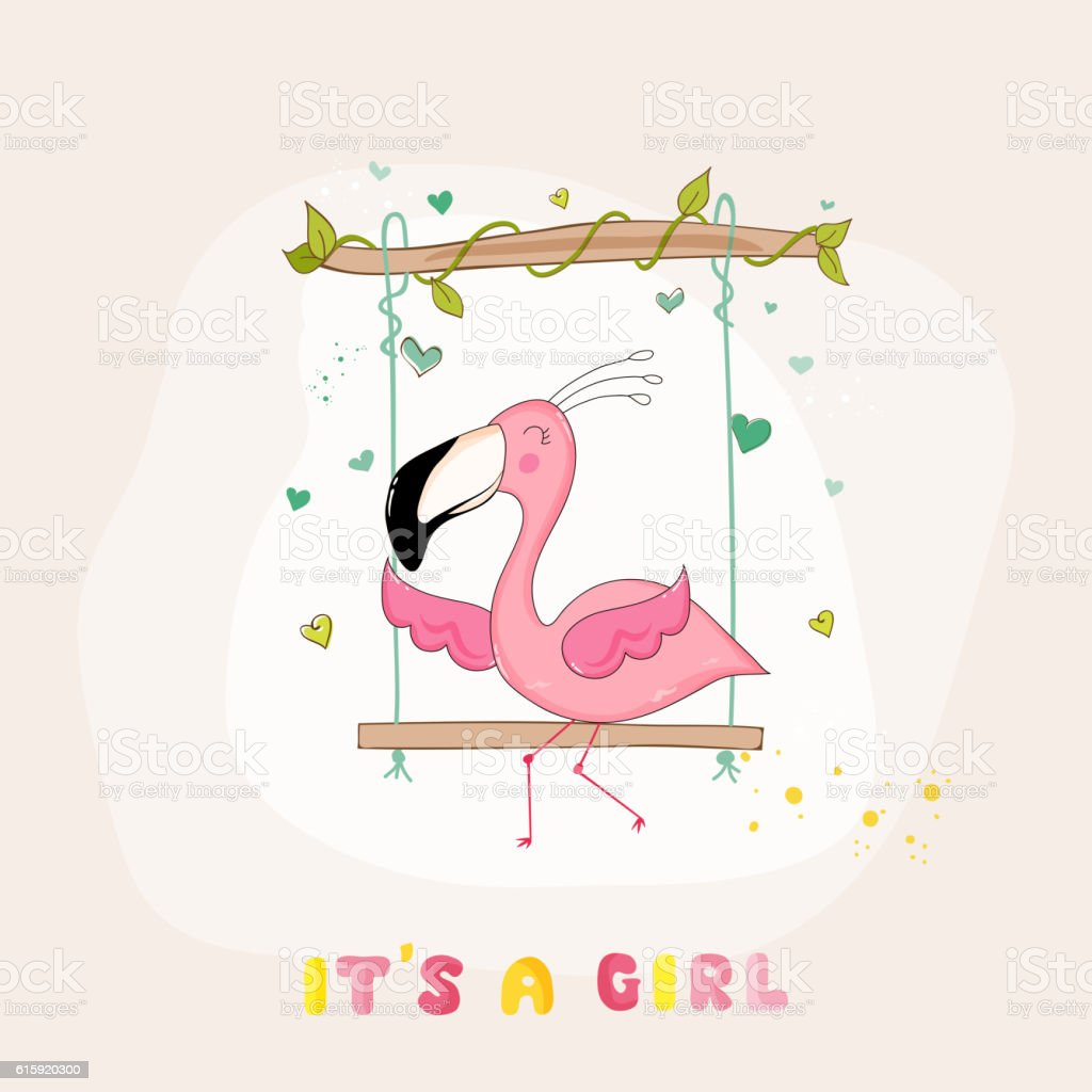 baby shower or arrival card baby flamingo girl on swing