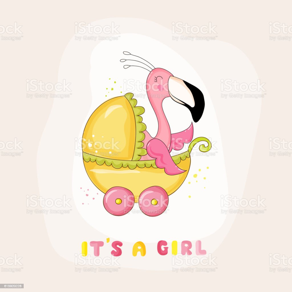 baby shower or arrival card baby flamingo girl royaltyfree stock vector art