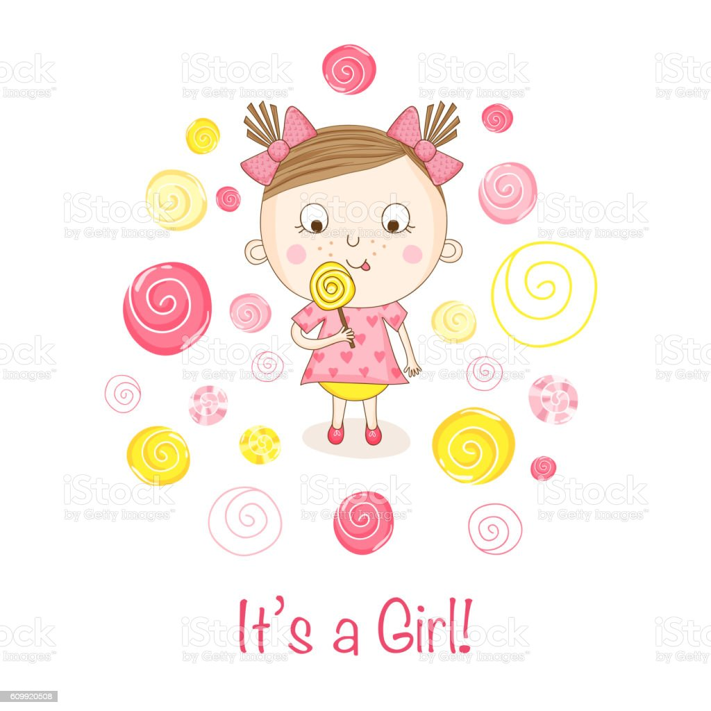 baby shower or arrival card baby girl with a candy のイラスト素材