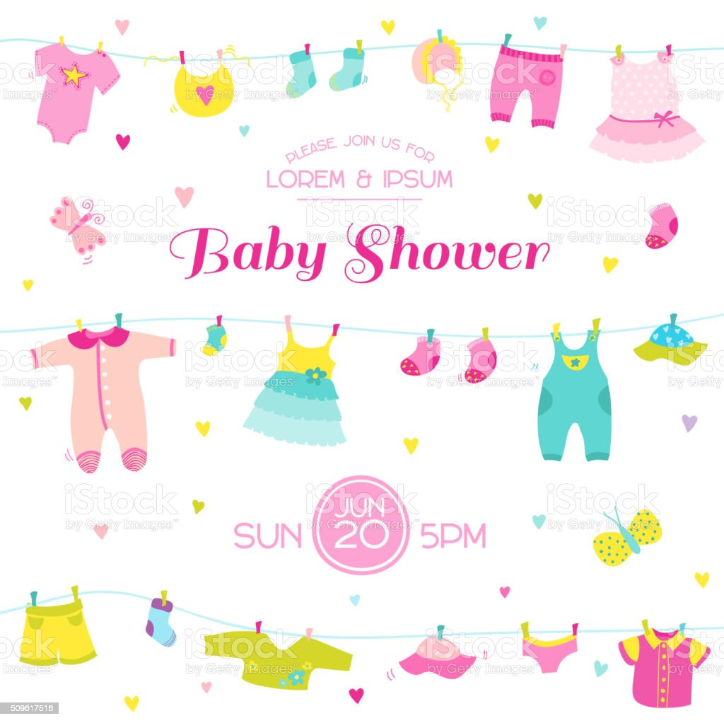 Baby Shower or Arrival Card - Cute Baby Girl Elements vector art illustration