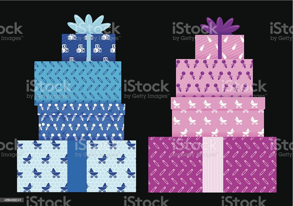Baby Shower Presents - Boy and Girl royalty-free stock vector art