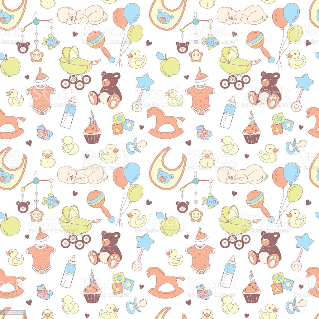 Baby Shower Seamless Pattern. Texture For Baby Girl, Baby Boy Royalty Free  Stock