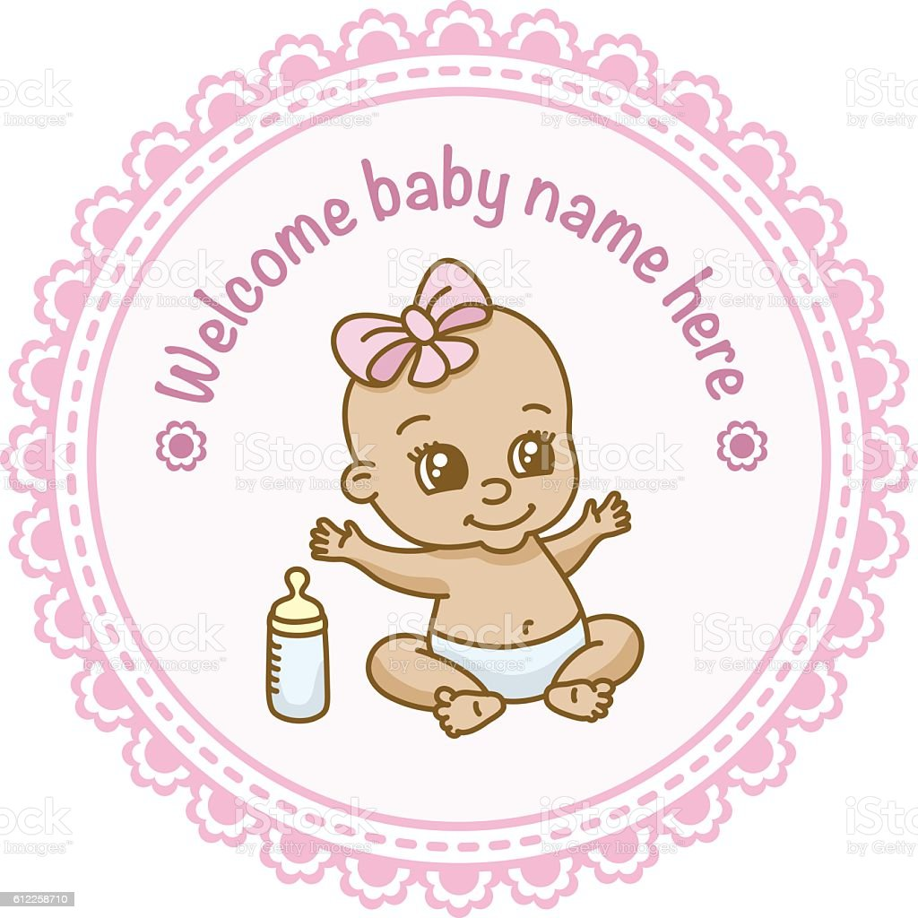 Baby shower welcome message vector art illustration