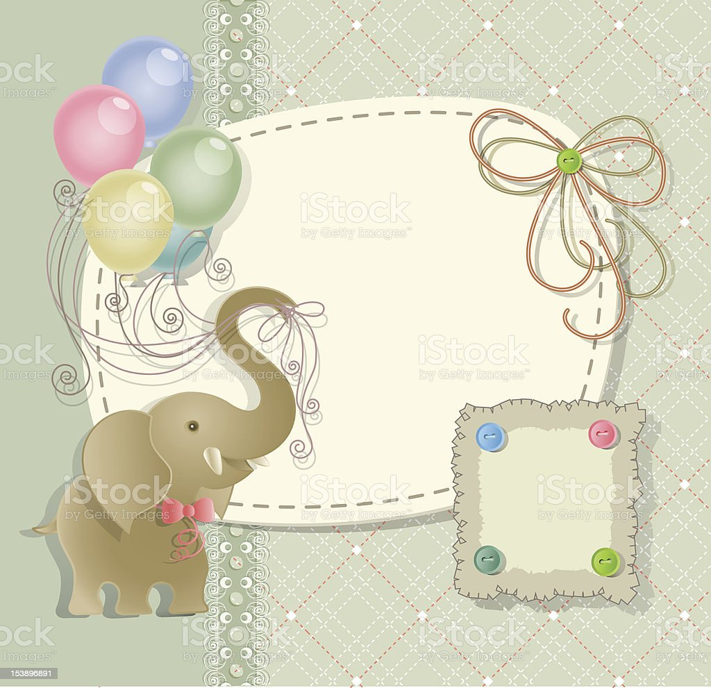 Baby shower with scrapbook elements royalty-free stock vector art
