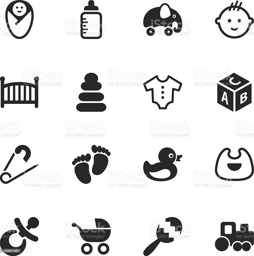Baby Silhouette Icons vector art illustration
