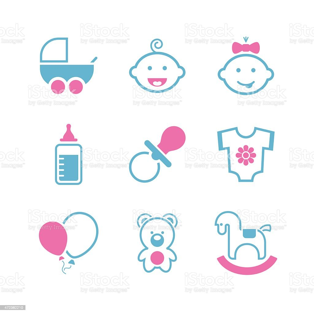 Baby simple vector icon set vector art illustration