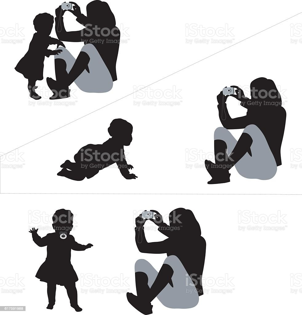 Baby Standing Crawling And Walking Silhouette Vector vector art illustration