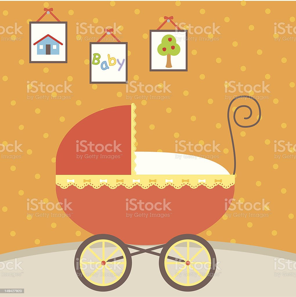 Baby Stroller Carriage vector art illustration
