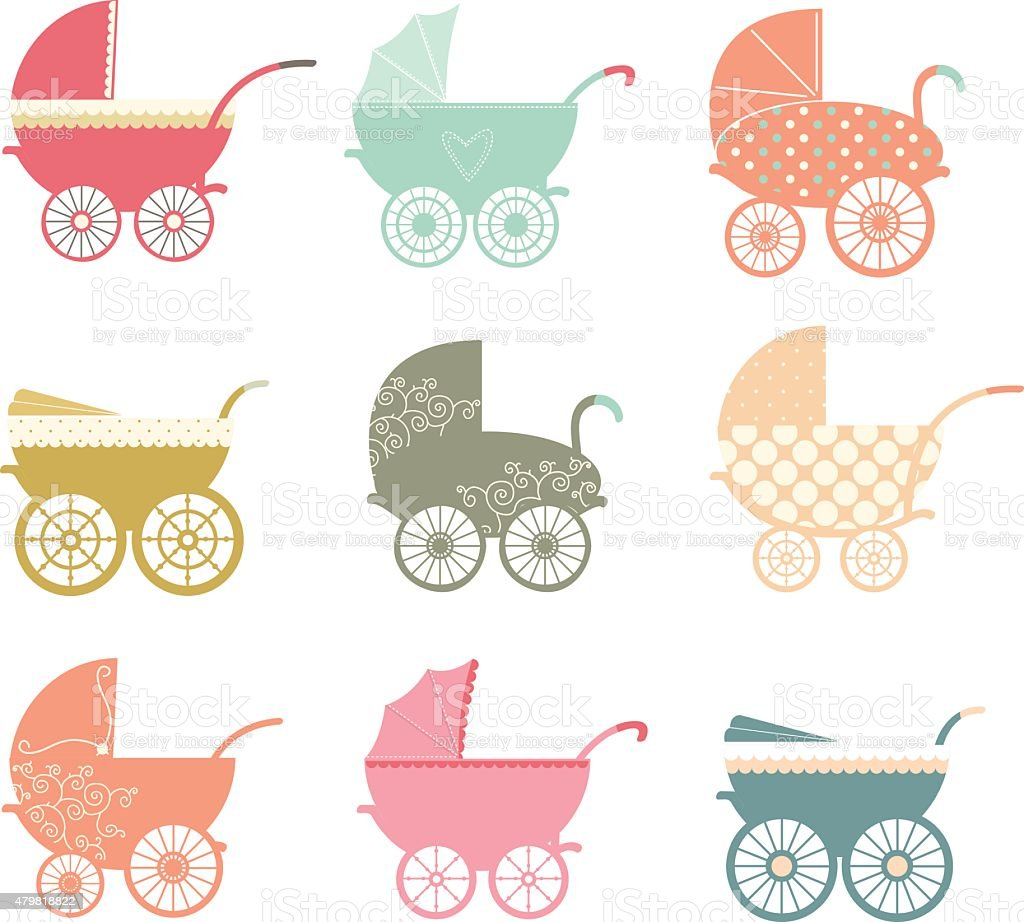 Baby Stroller Elements vector art illustration