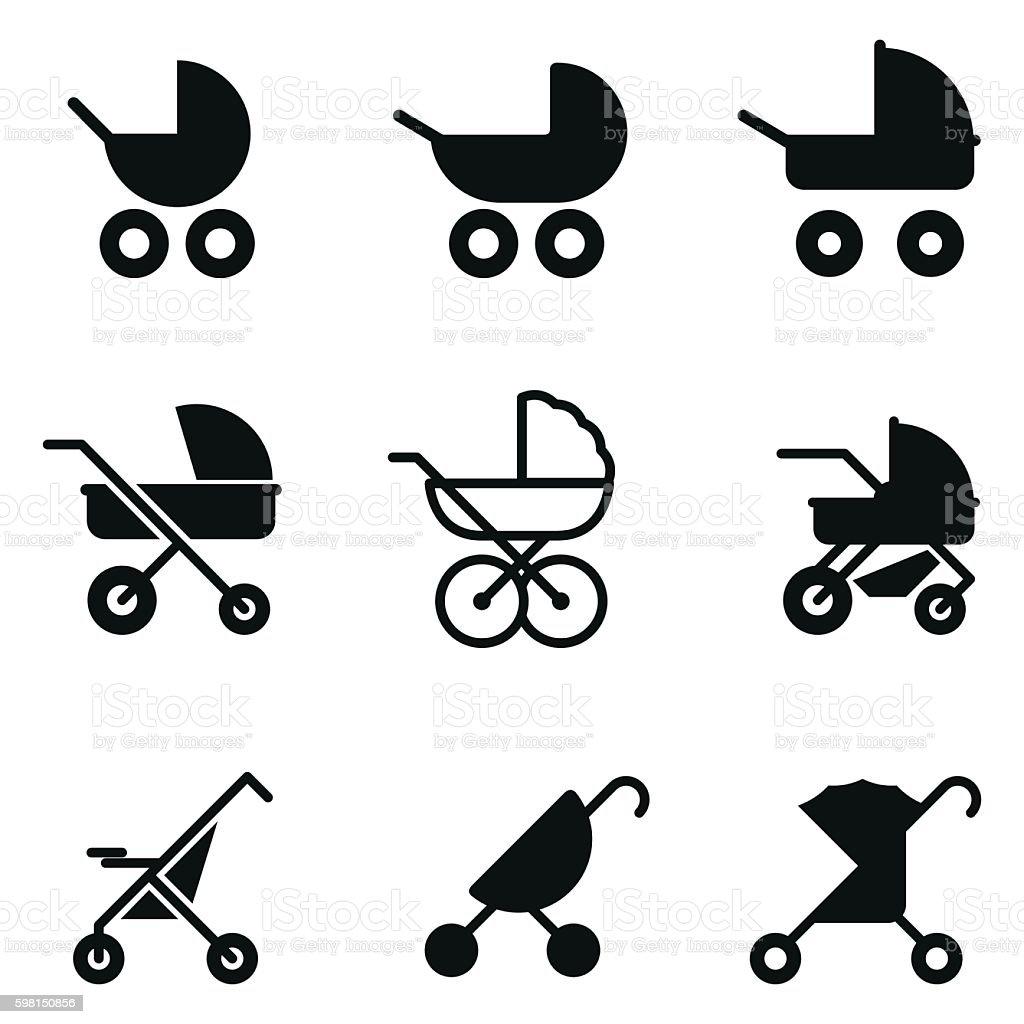 Baby stroller vector icons. vector art illustration