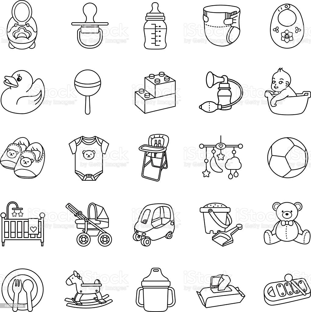 Baby stuff outlines vector icons vector art illustration