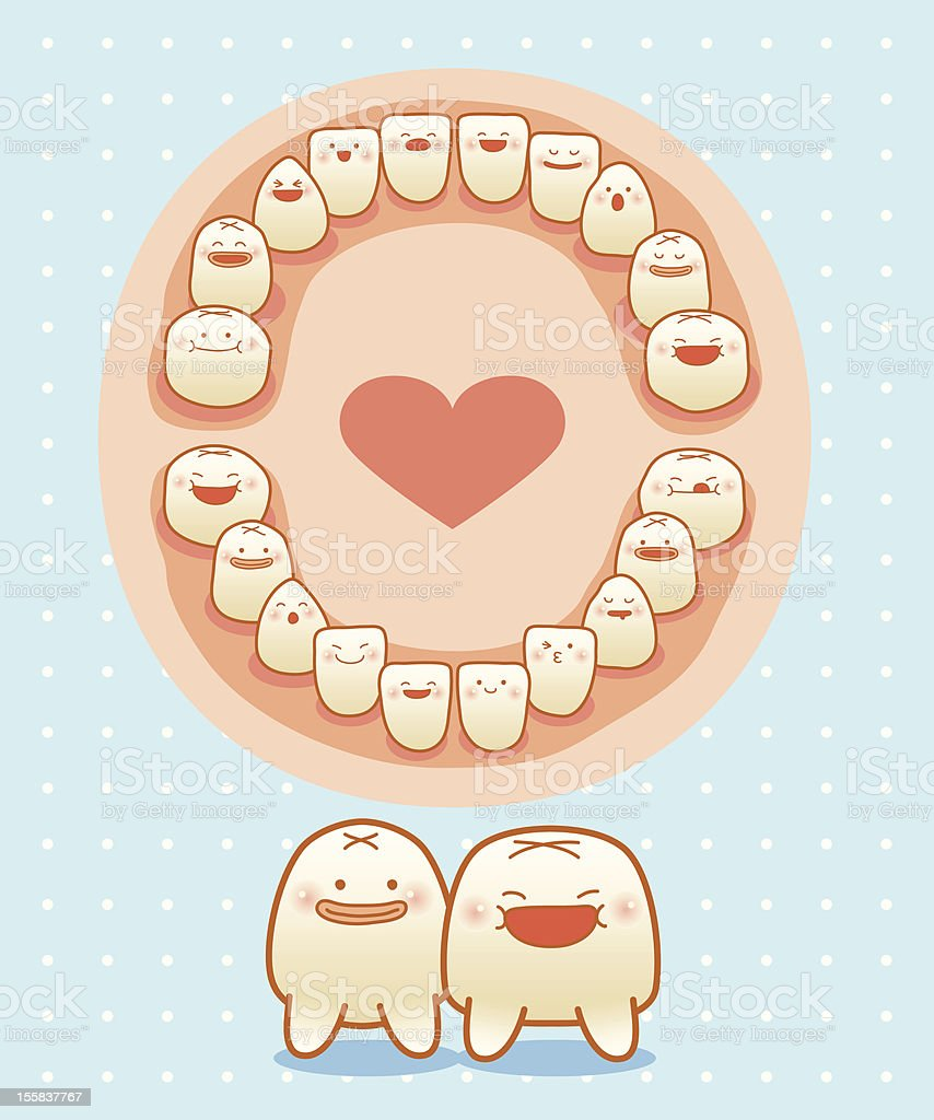 baby teeth vector art illustration
