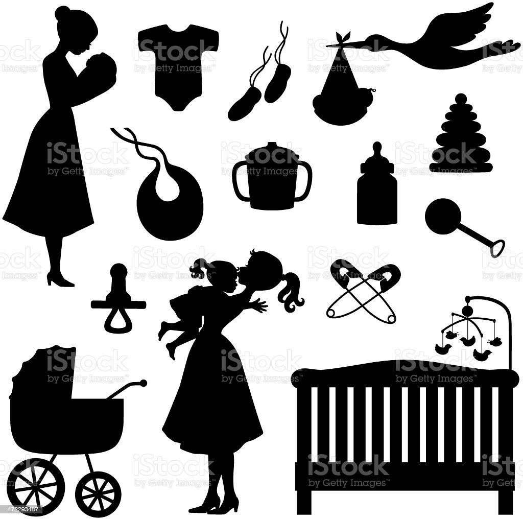Baby Theme Icons and Silhouettes vector art illustration
