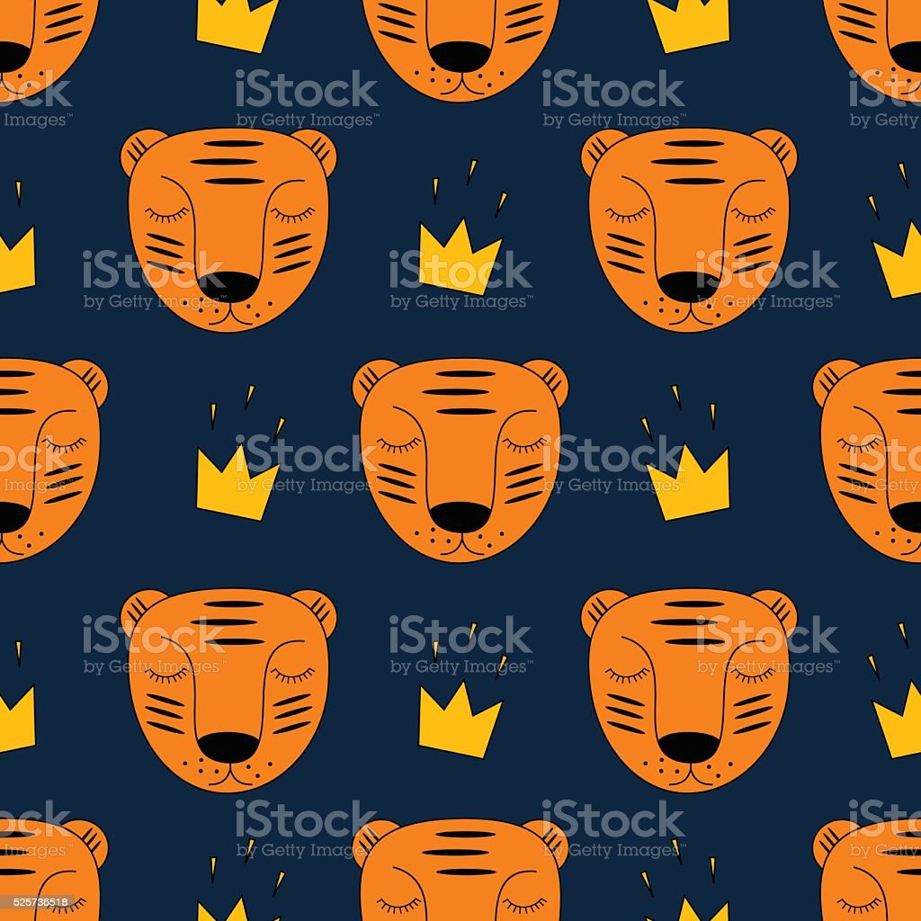 Baby tiger with crown seamless pattern on dark blue background. vector art illustration