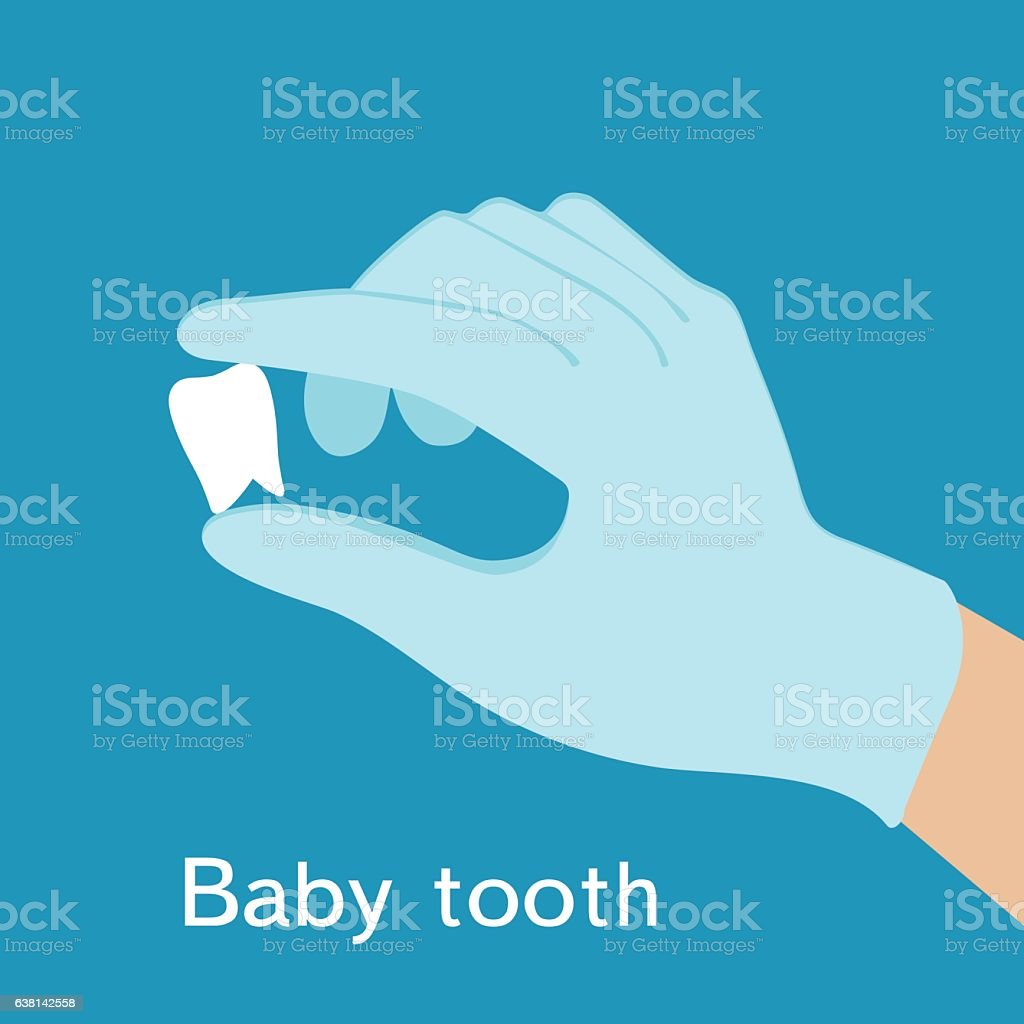 Baby tooth in hand, the doctor in blue gloves. vector art illustration