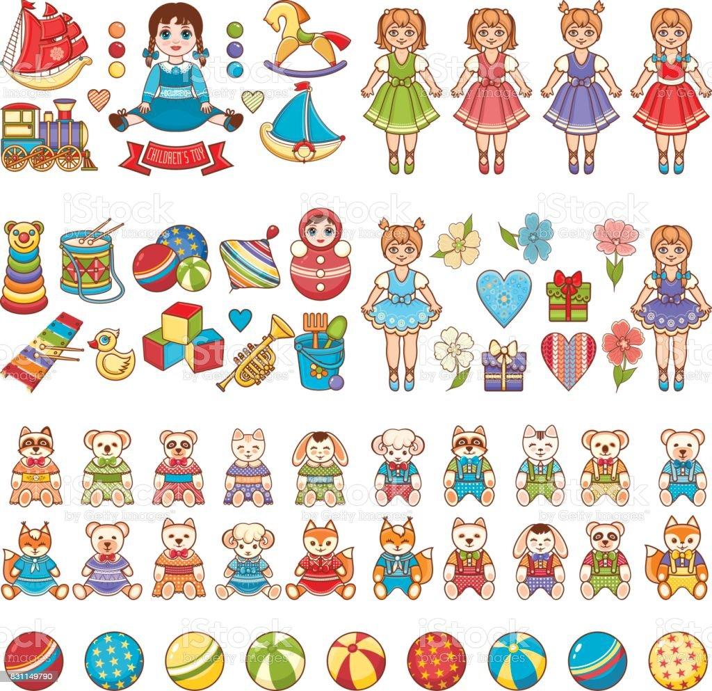 Baby Toy. Set. vector art illustration