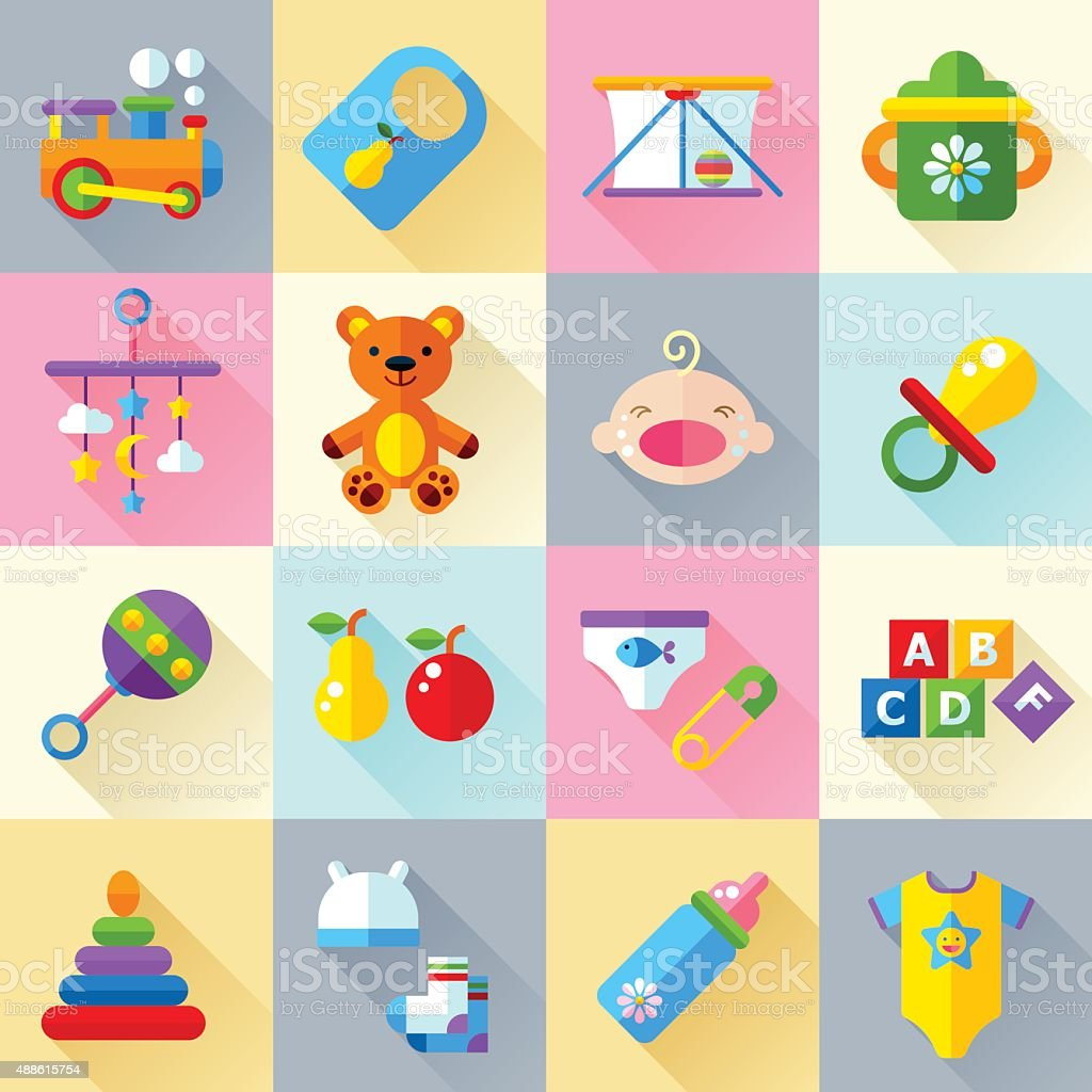 Baby toys and care icon set vector art illustration