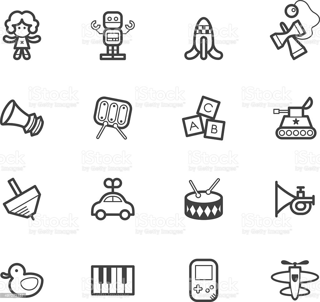 baby toys vector black icon set on white background vector art illustration