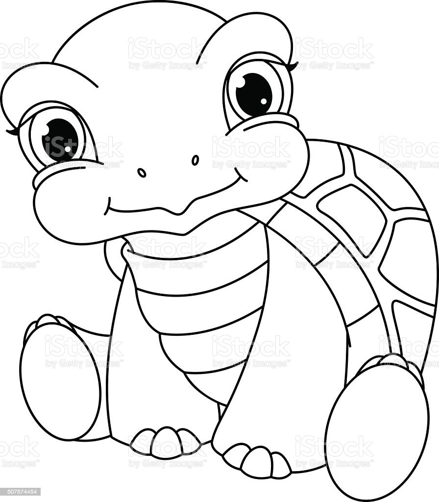 baby turtle coloring page stock vector art 507574454 istock