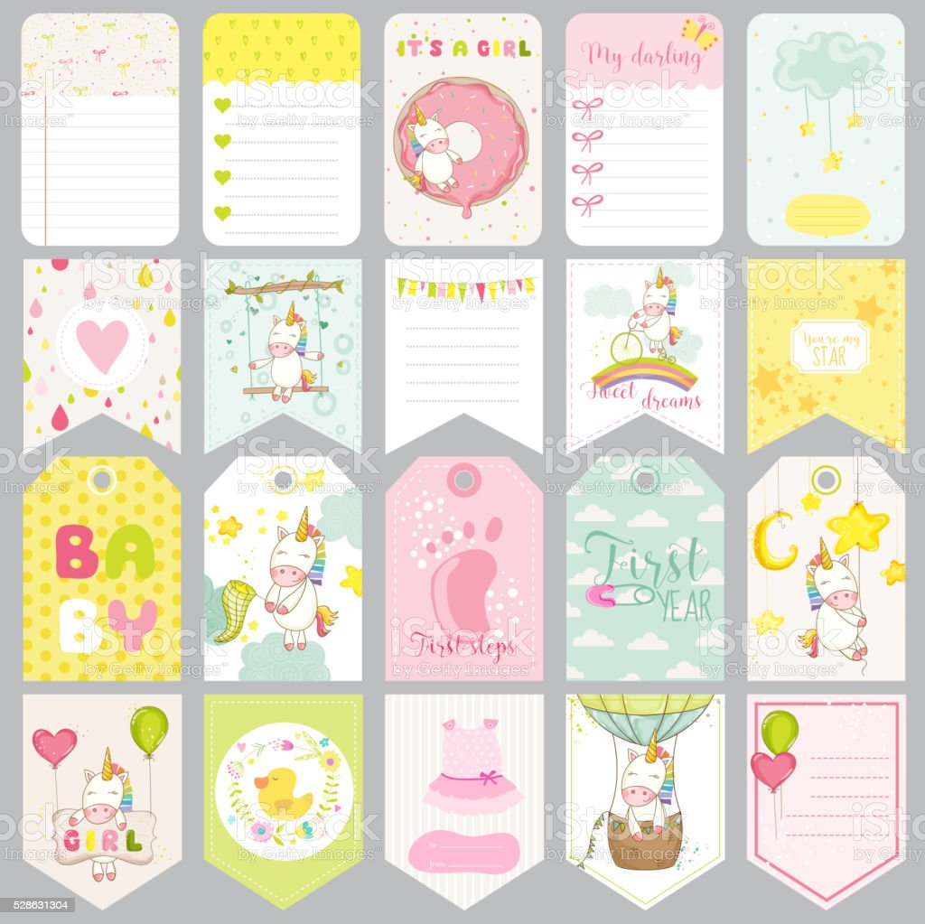 Baby Unicorn Tags. Baby Banners. Scrapbook Labels. Cute Cards vector art illustration