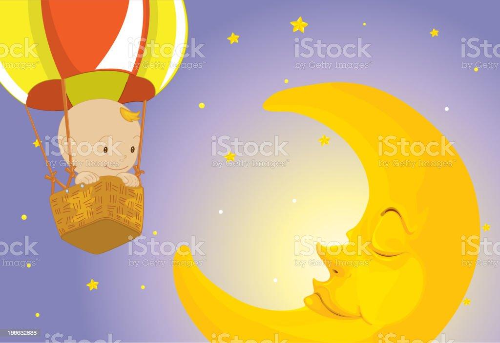 Baby visits moon royalty-free stock vector art