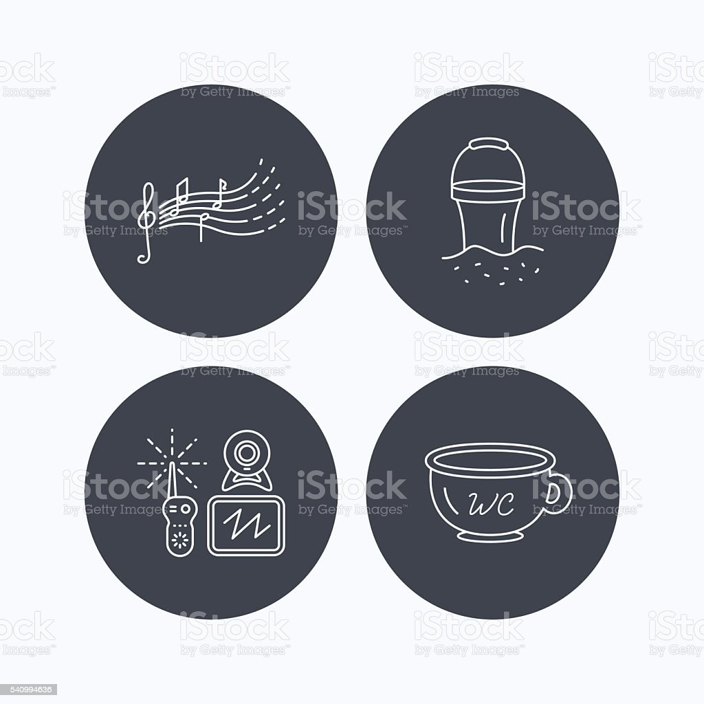 Baby wc, video monitoring and songs icons. vector art illustration