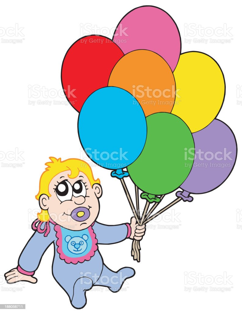 Baby with balloons royalty-free stock vector art
