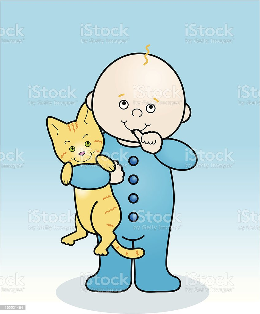 Baby with cat royalty-free stock vector art