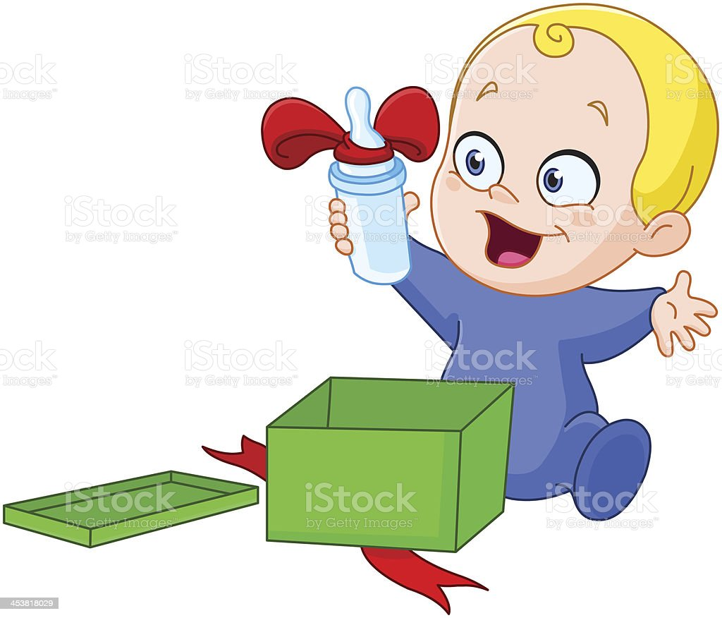 Baby with Christmas gift royalty-free stock vector art