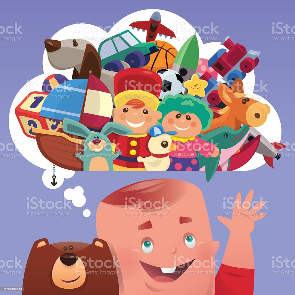 baby with toys vector art illustration