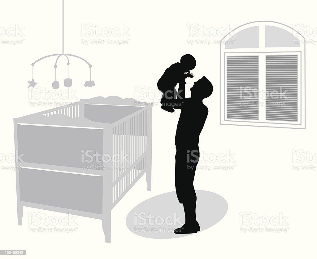 Baby'n Dad Vector Silhouette royalty-free stock vector art