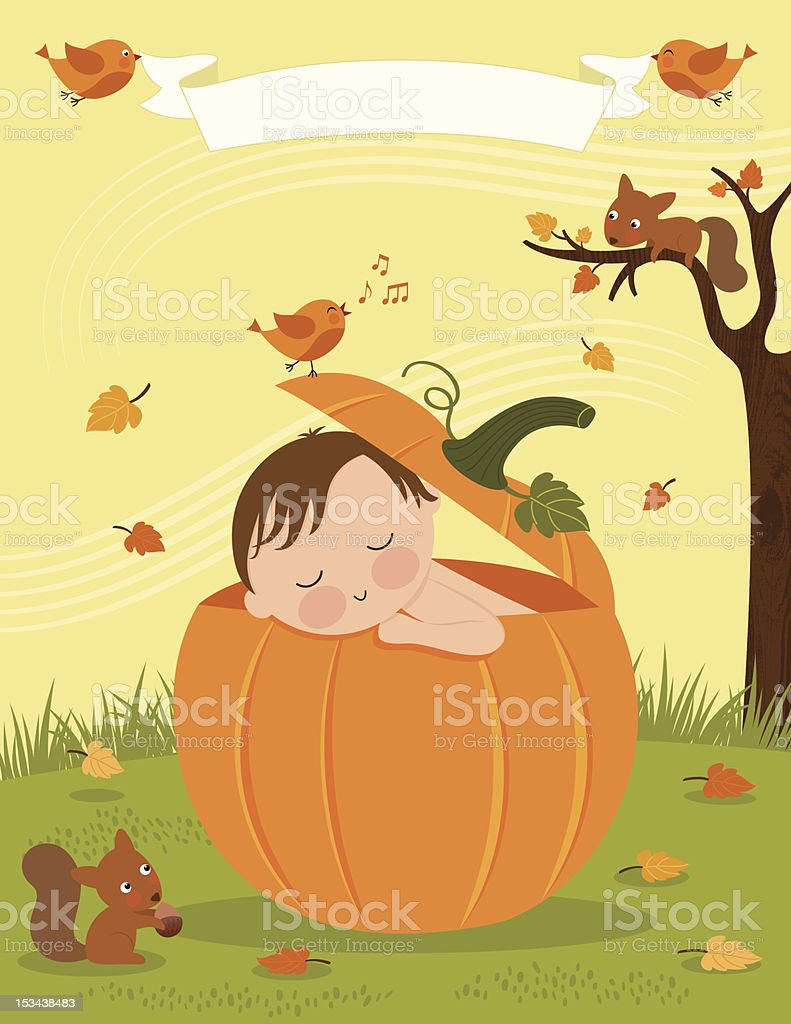 Baby's First Autumn royalty-free stock vector art
