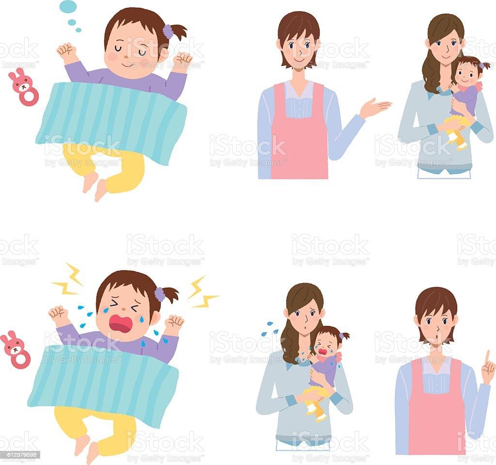 babysitter vector art illustration