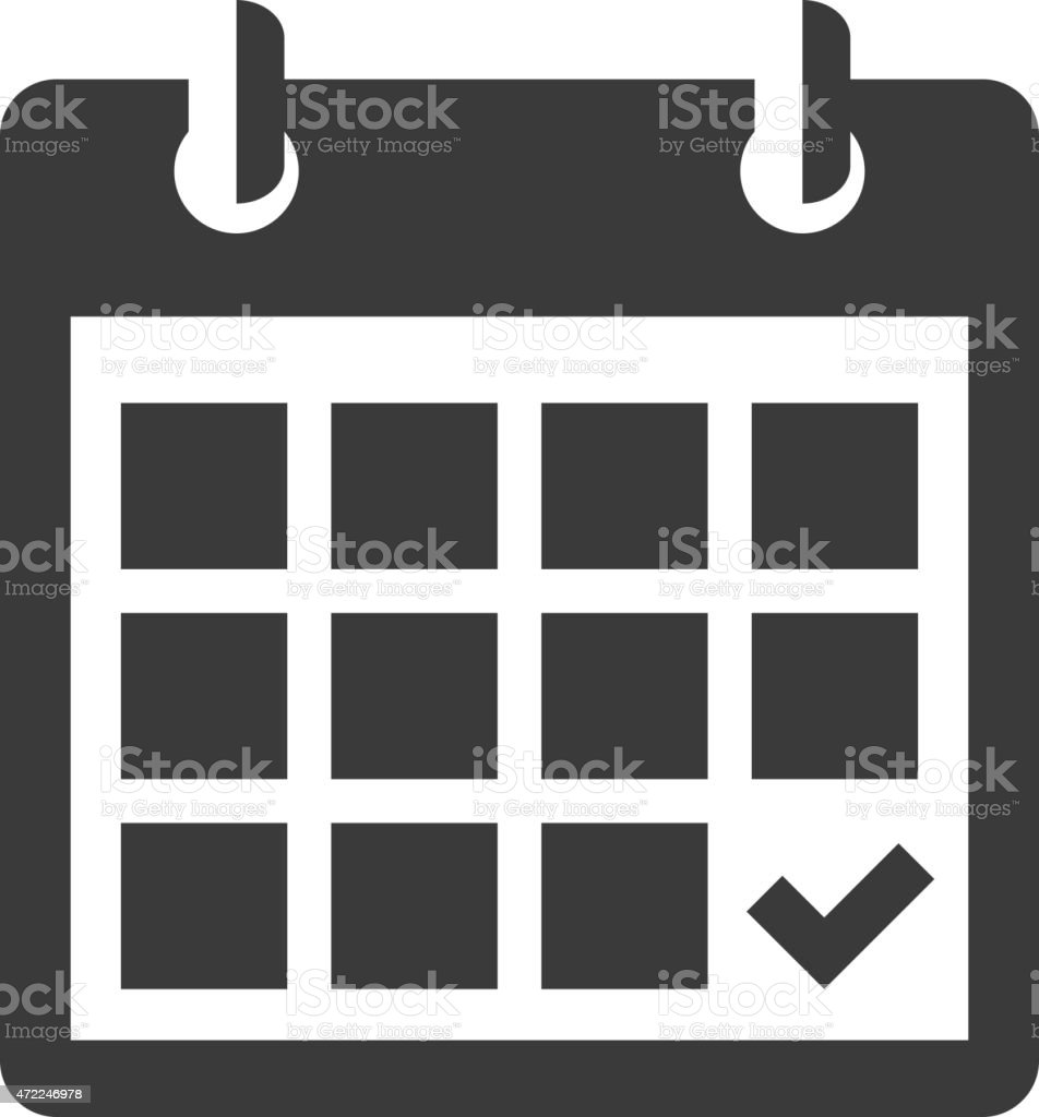 A back and white calendar icon vector art illustration