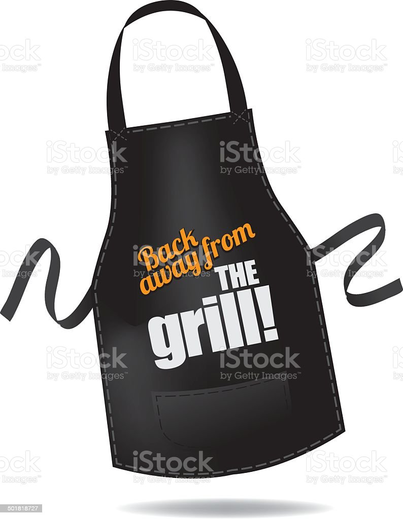 Back away from the grill apron vector art illustration
