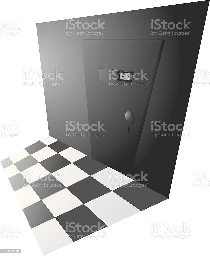 Back door entrance with peephole vector art illustration