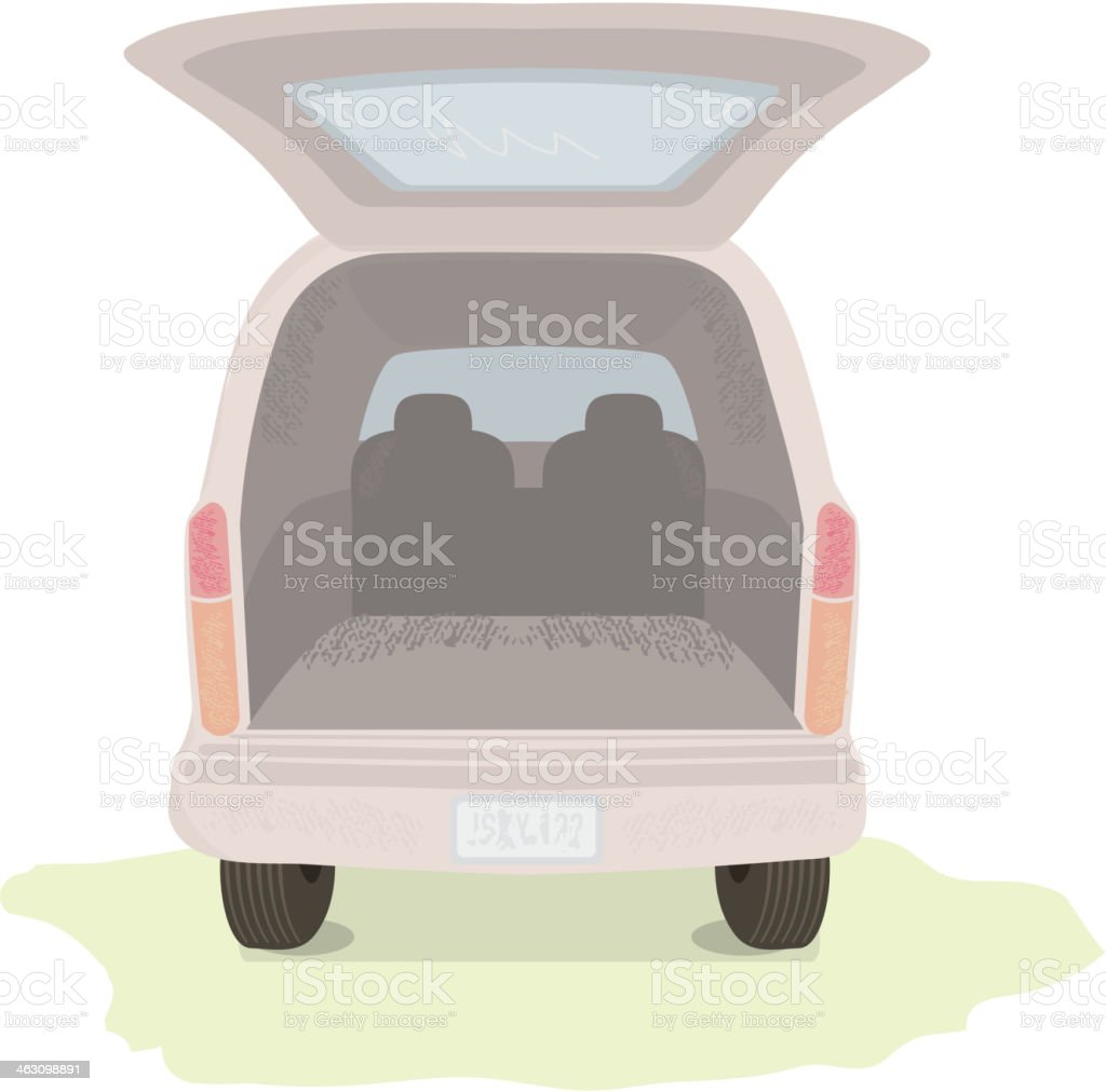 Back of a car with hatch open royalty-free stock vector art