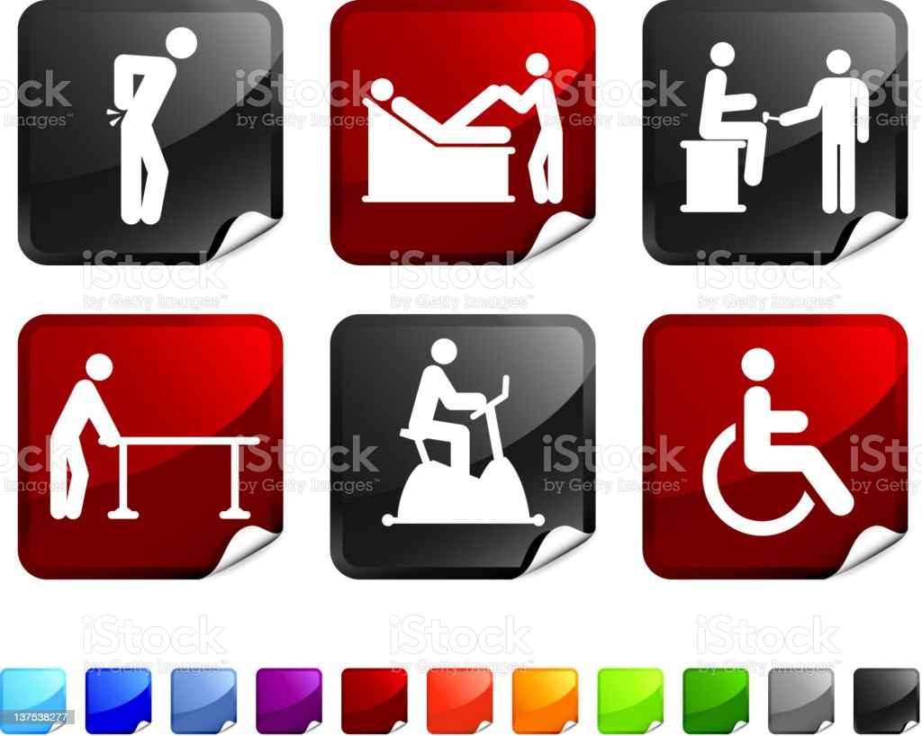 back pain and therapy royalty free vector icon set stickers vector art illustration