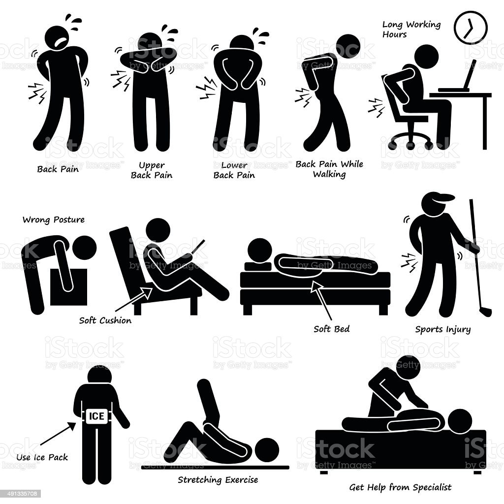 Back Pain Backache Pictogram vector art illustration