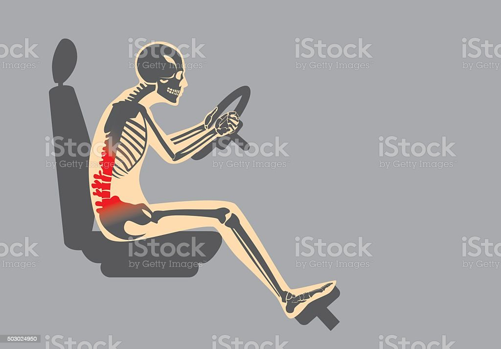 Back pain because wrong posture in driving vector art illustration