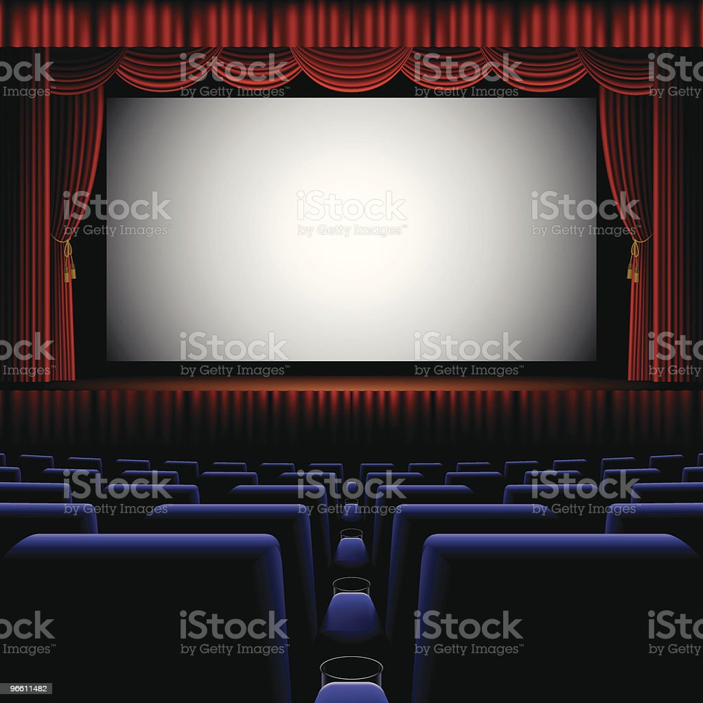 A back row view of a cinema screen vector art illustration
