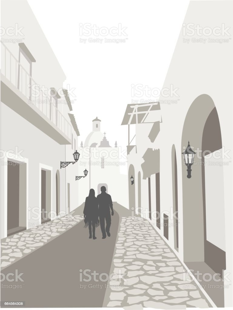 Back Street Town vector art illustration