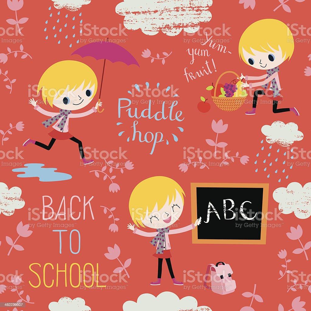 Back to School. Autumn Pattern. royalty-free stock vector art
