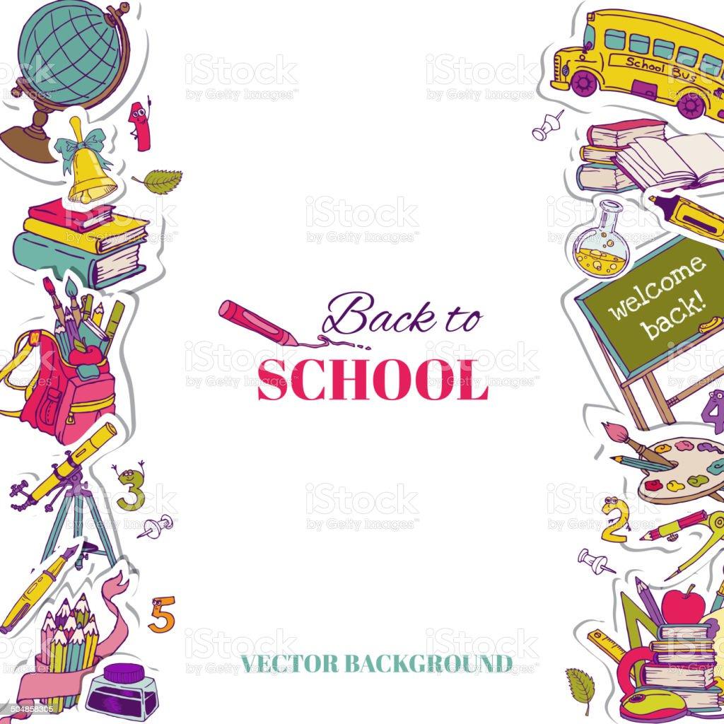 Back to School Background- for design, postcard, texture vector art illustration