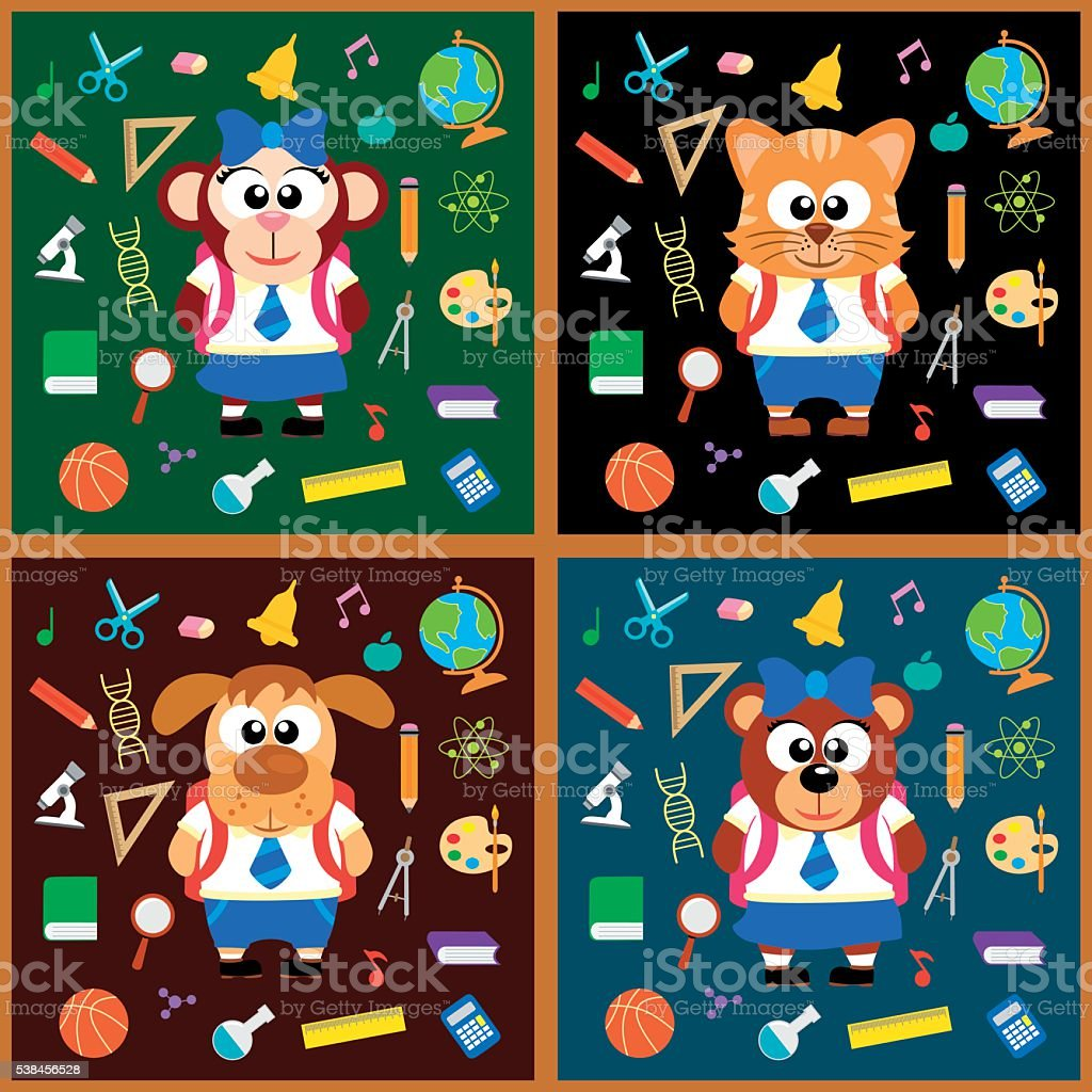 Back to school background set with animals vector art illustration