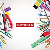 Back to School background with chalkboard and supplies