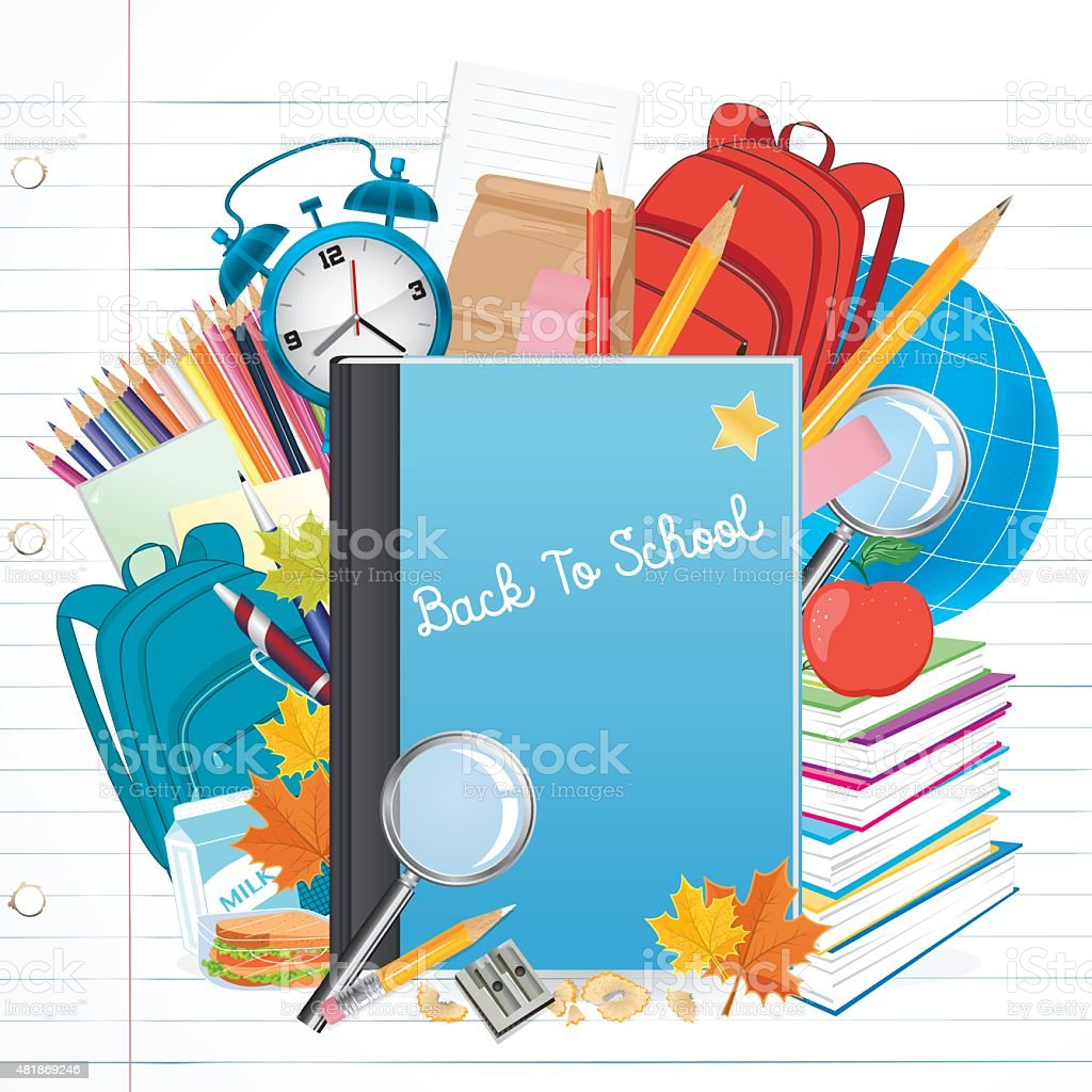 Back To School Background with education Objects vector art illustration
