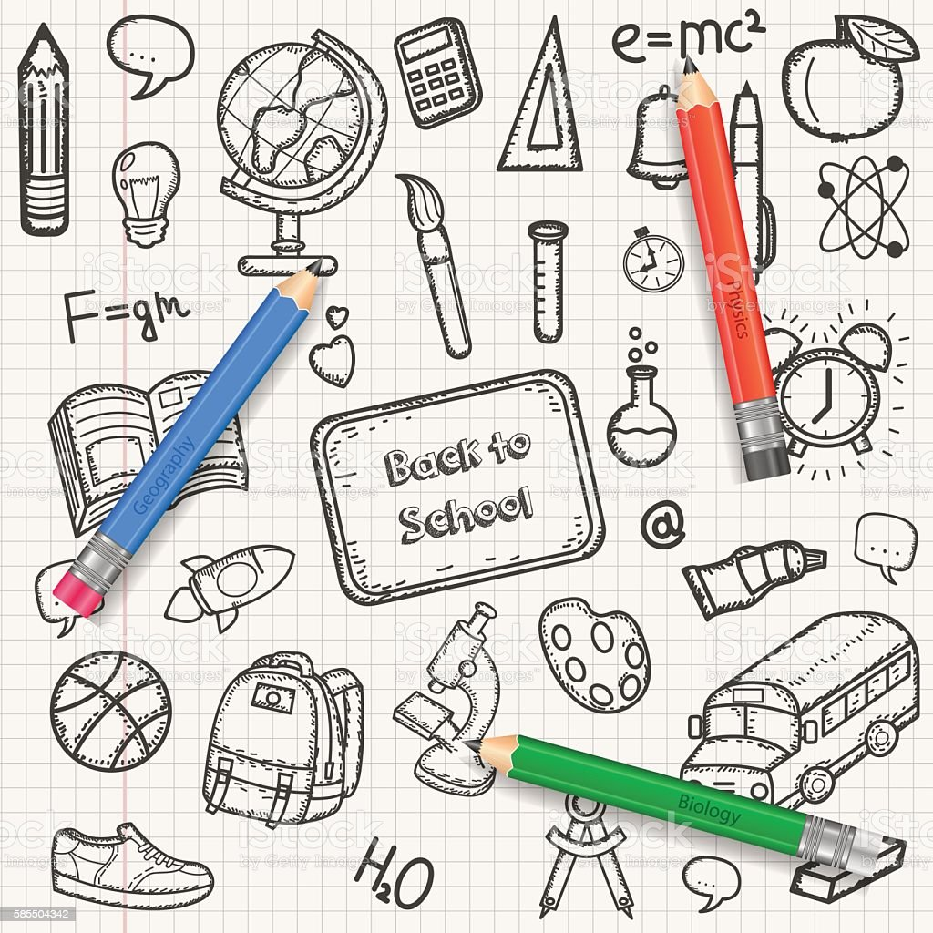 Back to School background with hand drawn doodle royalty-free stock vector art