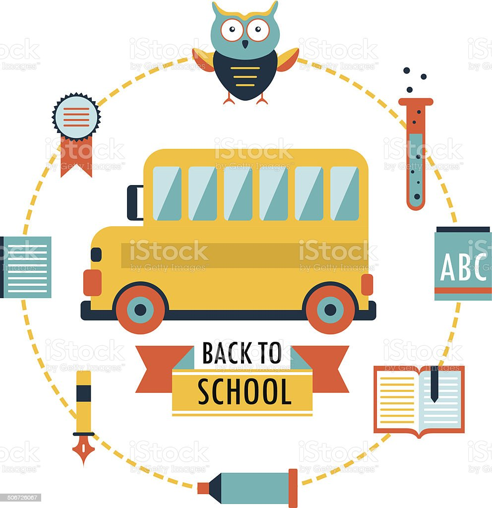 Back to school background with study icons. School bus royalty-free stock vector art