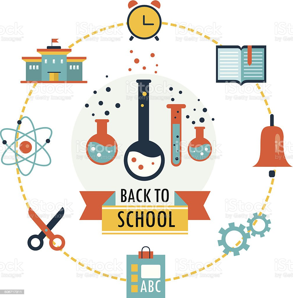 Back to school background with study icons royalty-free stock vector art